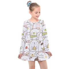 Cute-baby-animals-seamless-pattern Kids  Long Sleeve Dress by Sobalvarro