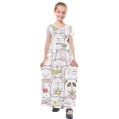 Cute-baby-animals-seamless-pattern Kids  Short Sleeve Maxi Dress by Sobalvarro