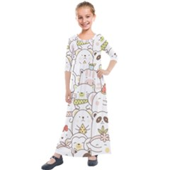 Cute-baby-animals-seamless-pattern Kids  Quarter Sleeve Maxi Dress by Sobalvarro