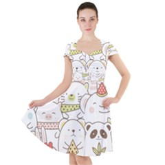 Cute-baby-animals-seamless-pattern Cap Sleeve Midi Dress by Sobalvarro