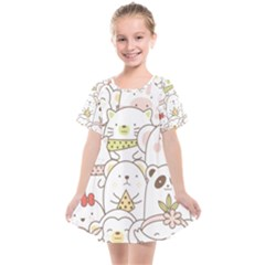 Cute-baby-animals-seamless-pattern Kids  Smock Dress by Sobalvarro