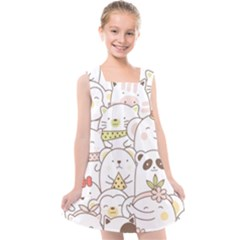 Cute-baby-animals-seamless-pattern Kids  Cross Back Dress by Sobalvarro
