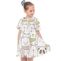 Cute-baby-animals-seamless-pattern Kids  Sailor Dress by Sobalvarro