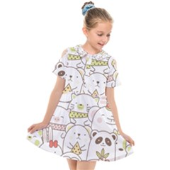 Cute-baby-animals-seamless-pattern Kids  Short Sleeve Shirt Dress by Sobalvarro