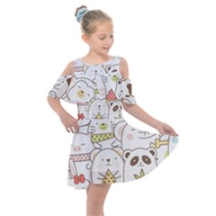 Cute-baby-animals-seamless-pattern Kids  Shoulder Cutout Chiffon Dress by Sobalvarro