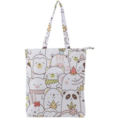 Cute-baby-animals-seamless-pattern Double Zip Up Tote Bag by Sobalvarro