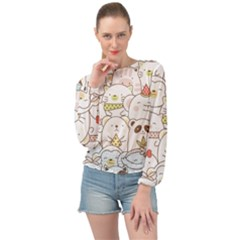 Cute-baby-animals-seamless-pattern Banded Bottom Chiffon Top by Sobalvarro