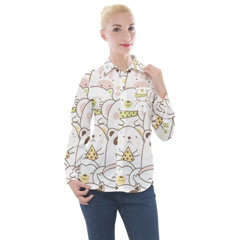 Cute-baby-animals-seamless-pattern Women s Long Sleeve Pocket Shirt by Sobalvarro