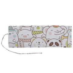 Cute-baby-animals-seamless-pattern Roll Up Canvas Pencil Holder (m) by Sobalvarro