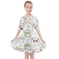 Cute-baby-animals-seamless-pattern Kids  All Frills Chiffon Dress by Sobalvarro