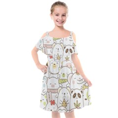 Cute-baby-animals-seamless-pattern Kids  Cut Out Shoulders Chiffon Dress by Sobalvarro