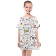 Cute-baby-animals-seamless-pattern Kids  One Piece Chiffon Dress by Sobalvarro