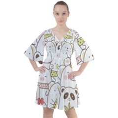 Cute-baby-animals-seamless-pattern Boho Button Up Dress by Sobalvarro