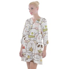 Cute-baby-animals-seamless-pattern Open Neck Shift Dress by Sobalvarro