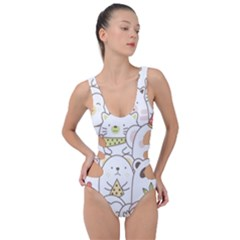 Cute-baby-animals-seamless-pattern Side Cut Out Swimsuit by Sobalvarro
