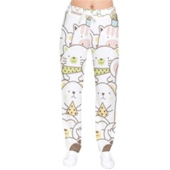 Cute-baby-animals-seamless-pattern Women Velvet Drawstring Pants by Sobalvarro