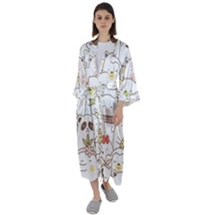 Cute-baby-animals-seamless-pattern Maxi Satin Kimono by Sobalvarro