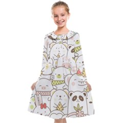 Cute-baby-animals-seamless-pattern Kids  Midi Sailor Dress by Sobalvarro