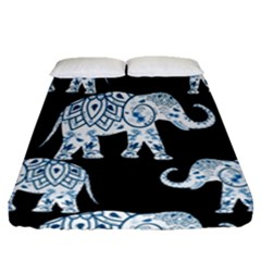 Elephant-pattern-background Fitted Sheet (queen Size) by Sobalvarro
