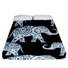 Elephant-pattern-background Fitted Sheet (king Size) by Sobalvarro
