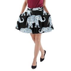 Elephant-pattern-background A-line Pocket Skirt by Sobalvarro