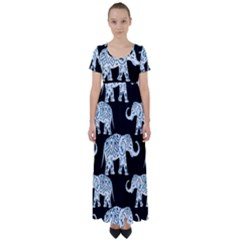Elephant-pattern-background High Waist Short Sleeve Maxi Dress