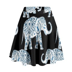 Elephant-pattern-background High Waist Skirt by Sobalvarro