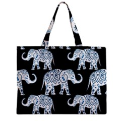 Elephant-pattern-background Zipper Medium Tote Bag by Sobalvarro