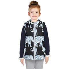 Elephant-pattern-background Kids  Hooded Puffer Vest by Sobalvarro