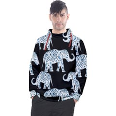 Elephant-pattern-background Men s Pullover Hoodie by Sobalvarro