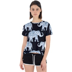 Elephant-pattern-background Open Back Sport Tee by Sobalvarro
