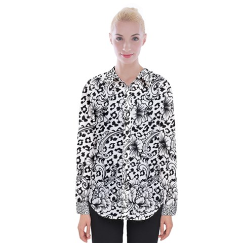 Vector-eclectic-fabric-seamless-pattern-animal-background-with-baroque-ornament Womens Long Sleeve Shirt by Sobalvarro
