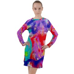 Crazy Graffiti Long Sleeve Hoodie Dress