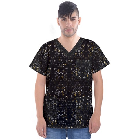 Fancy Ethnic Print Men s V-neck Scrub Top by dflcprintsclothing