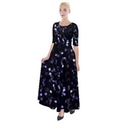 Square Motif Abstract Geometric Pattern 2 Half Sleeves Maxi Dress