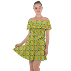 Lemon And Yellow Off Shoulder Velour Dress