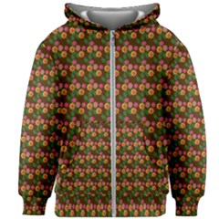 Floral Kids  Zipper Hoodie Without Drawstring