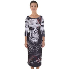 Monster Monkey From The Woods Quarter Sleeve Midi Bodycon Dress by DinzDas