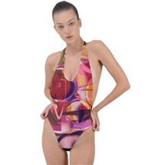 Fractured Colours Backless Halter One Piece Swimsuit by helendesigns