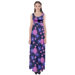 Pink And Blue Flowers Empire Waist Maxi Dress by bloomingvinedesign