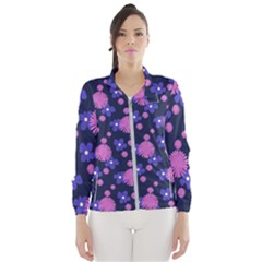 Pink And Blue Flowers Women s Windbreaker
