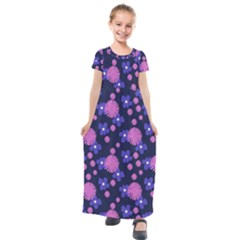 Pink And Blue Flowers Kids  Short Sleeve Maxi Dress