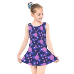 Pink And Blue Flowers Kids  Skater Dress Swimsuit