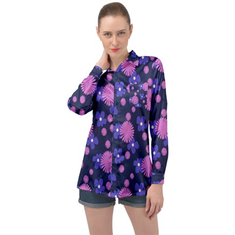 Pink And Blue Flowers Long Sleeve Satin Shirt by bloomingvinedesign