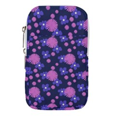 Pink And Blue Flowers Waist Pouch (large)