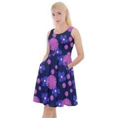 Pink And Blue Flowers Knee Length Skater Dress With Pockets