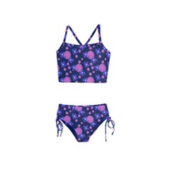 Pink And Blue Flowers Girls  Tankini Swimsuit