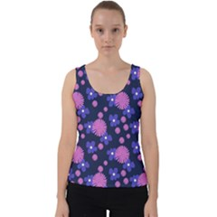 Pink And Blue Flowers Velvet Tank Top
