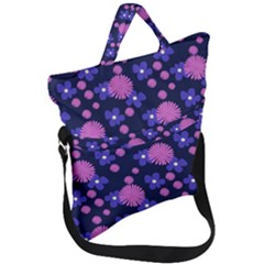 Pink And Blue Flowers Fold Over Handle Tote Bag by bloomingvinedesign