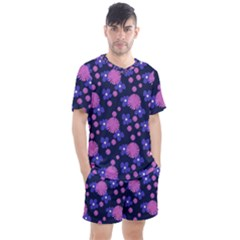 Pink And Blue Flowers Men s Mesh Tee And Shorts Set